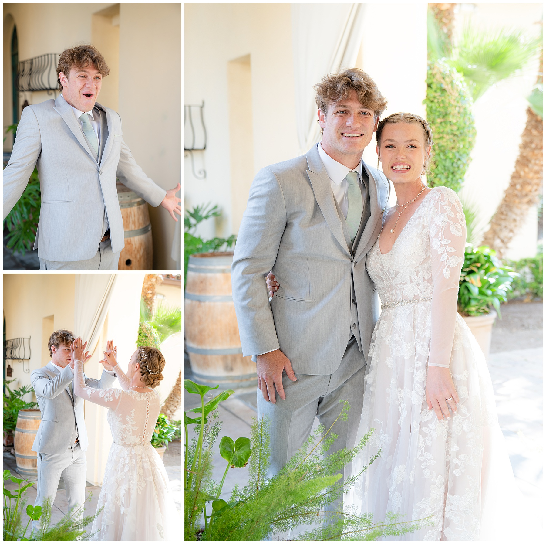 bride and brother first look