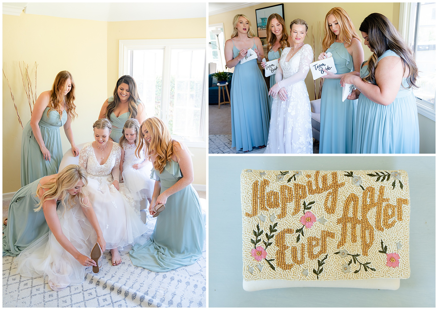bridal party getting ready in pale blue