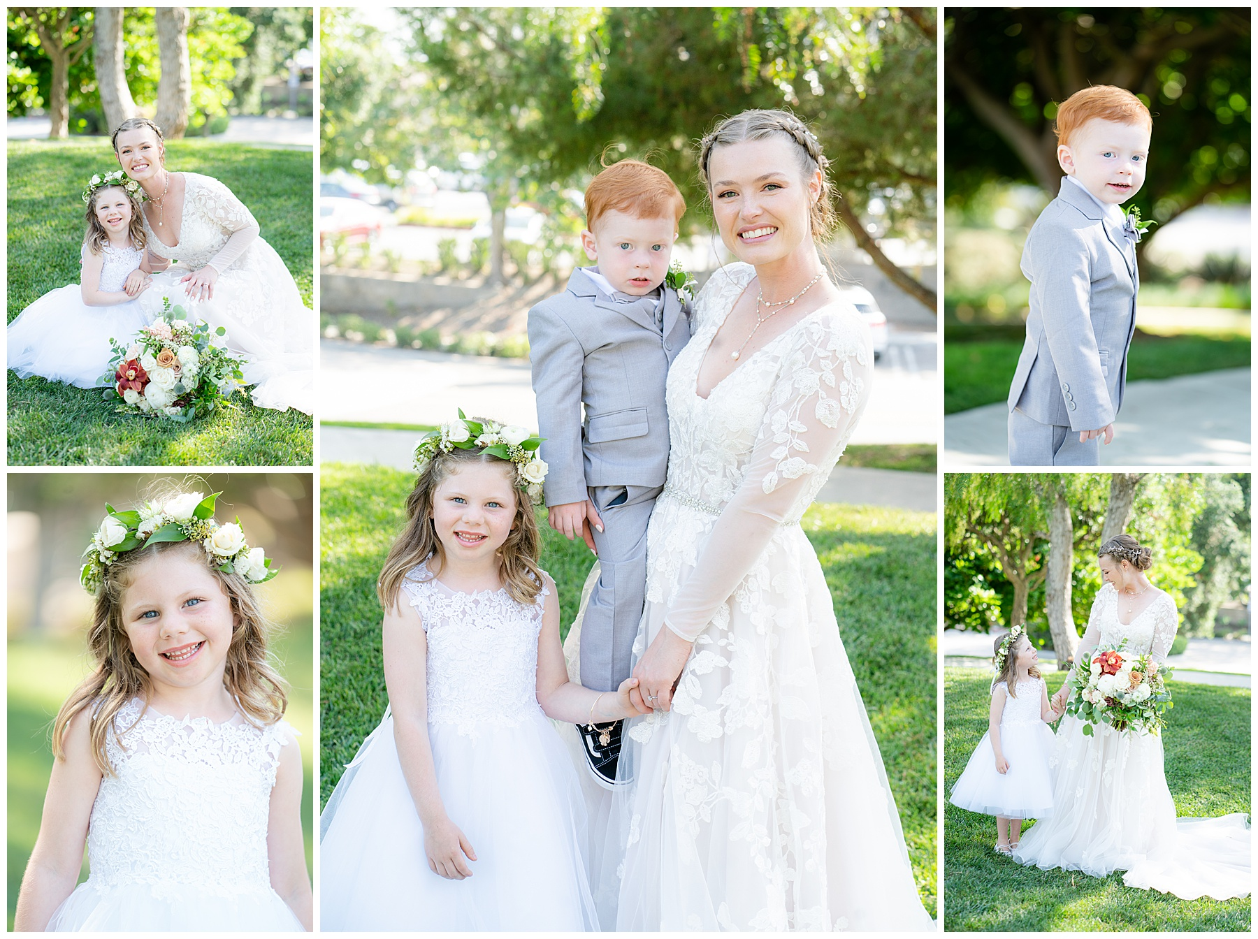 ring bearer and flower girl pose with bride