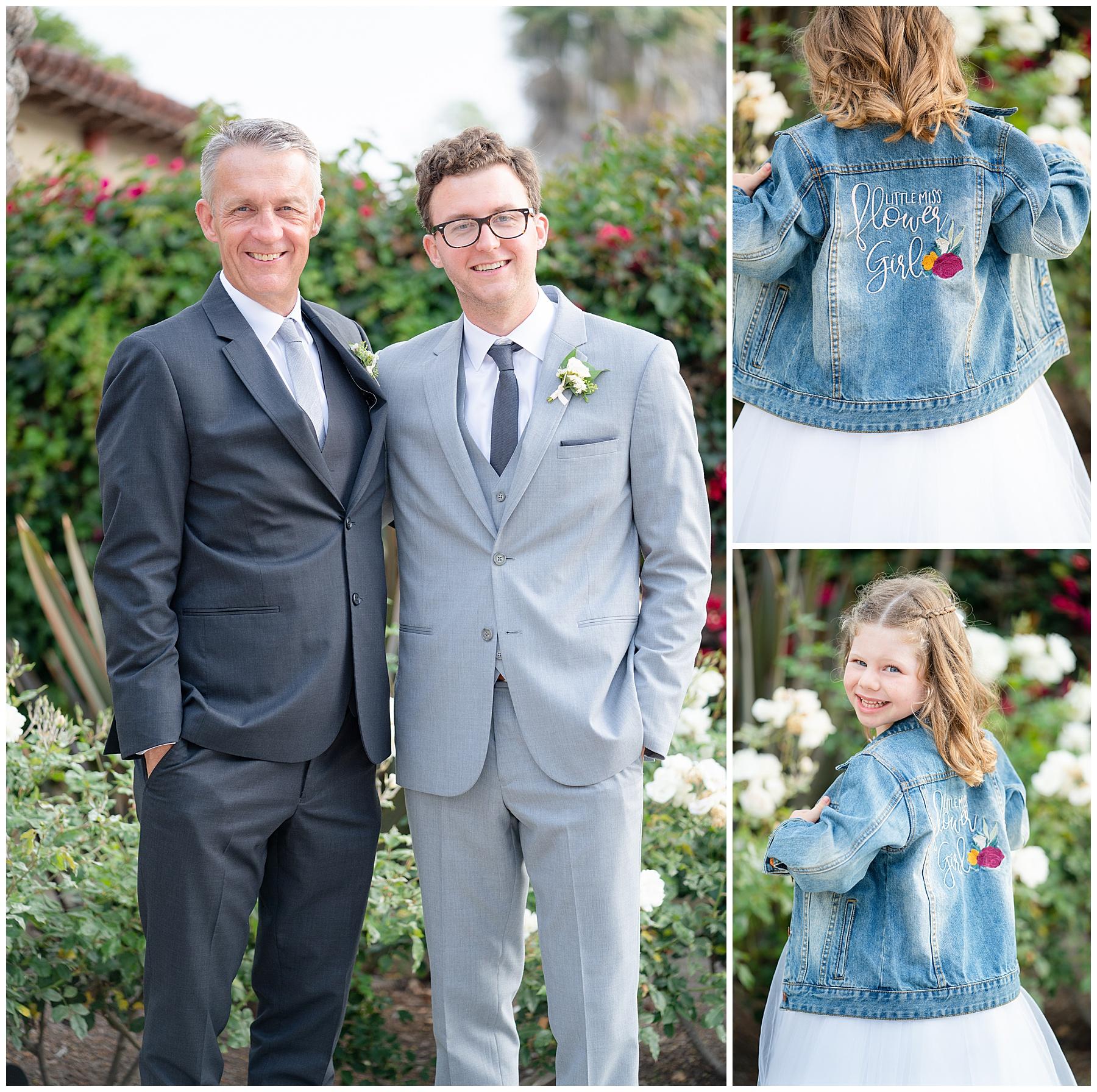 flower girl in a jean jacket