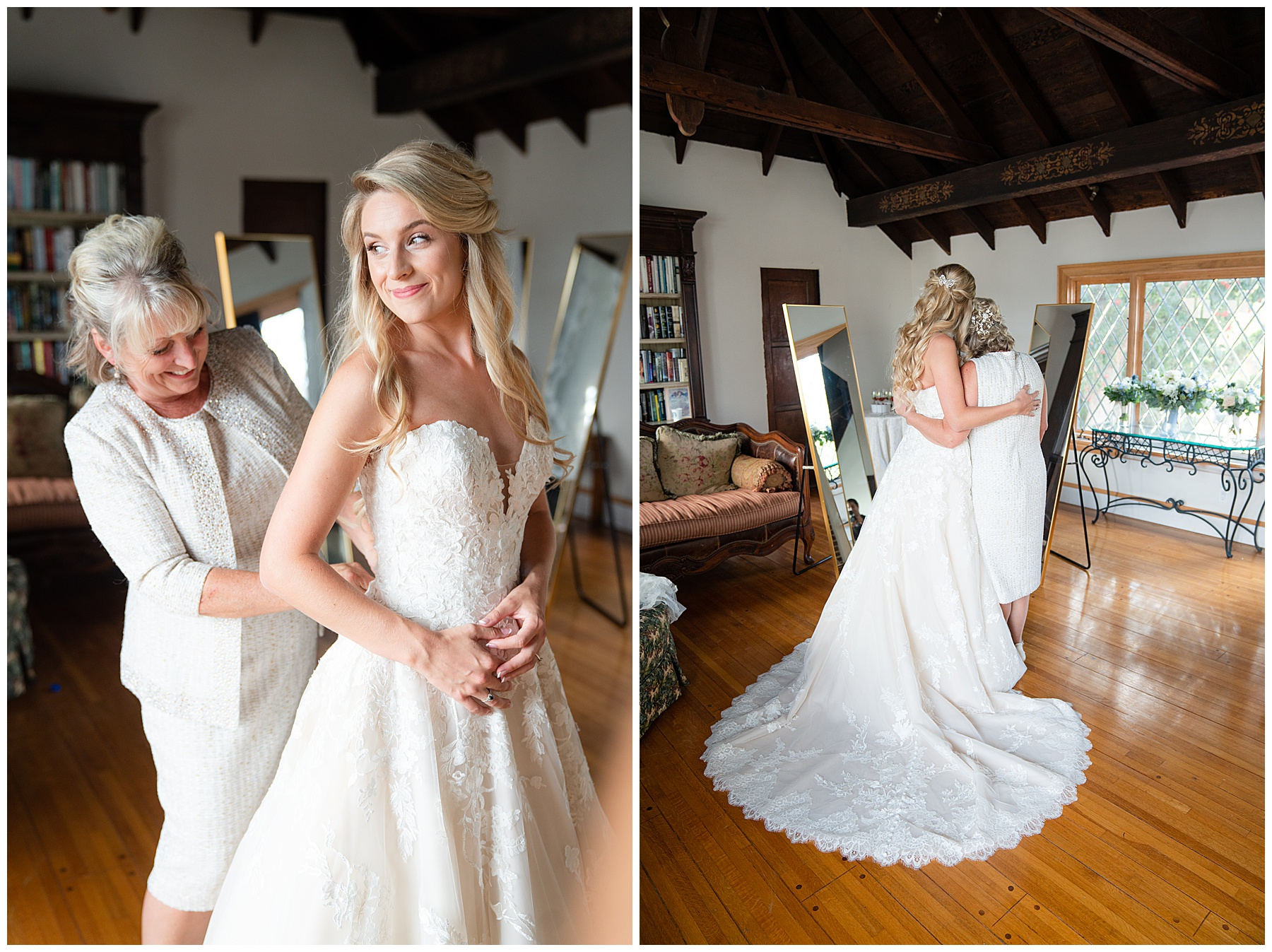 mother of the bride buttoning brides dress