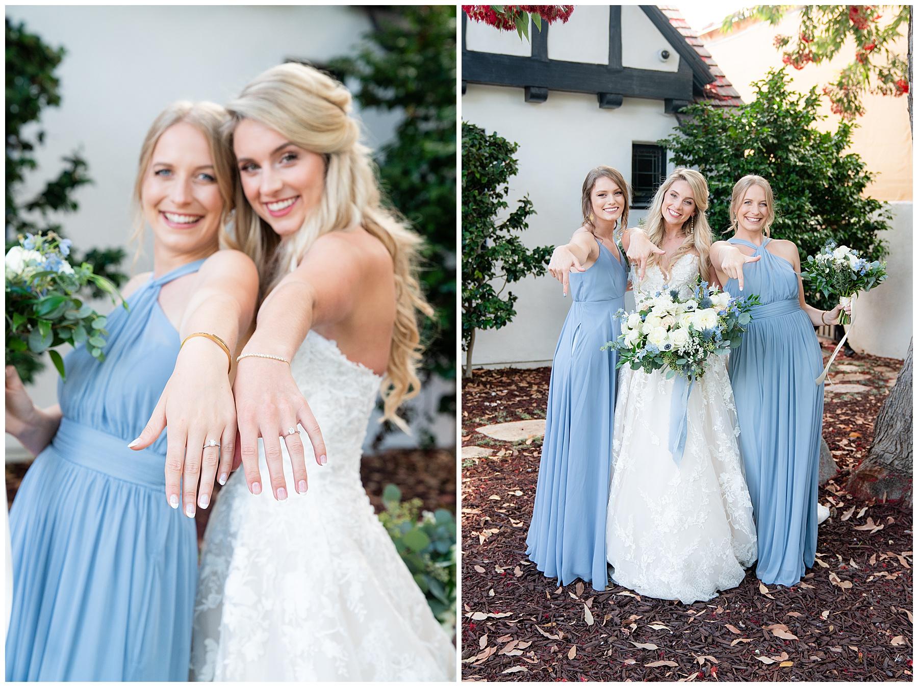 bridesmaids in sky blue dresses