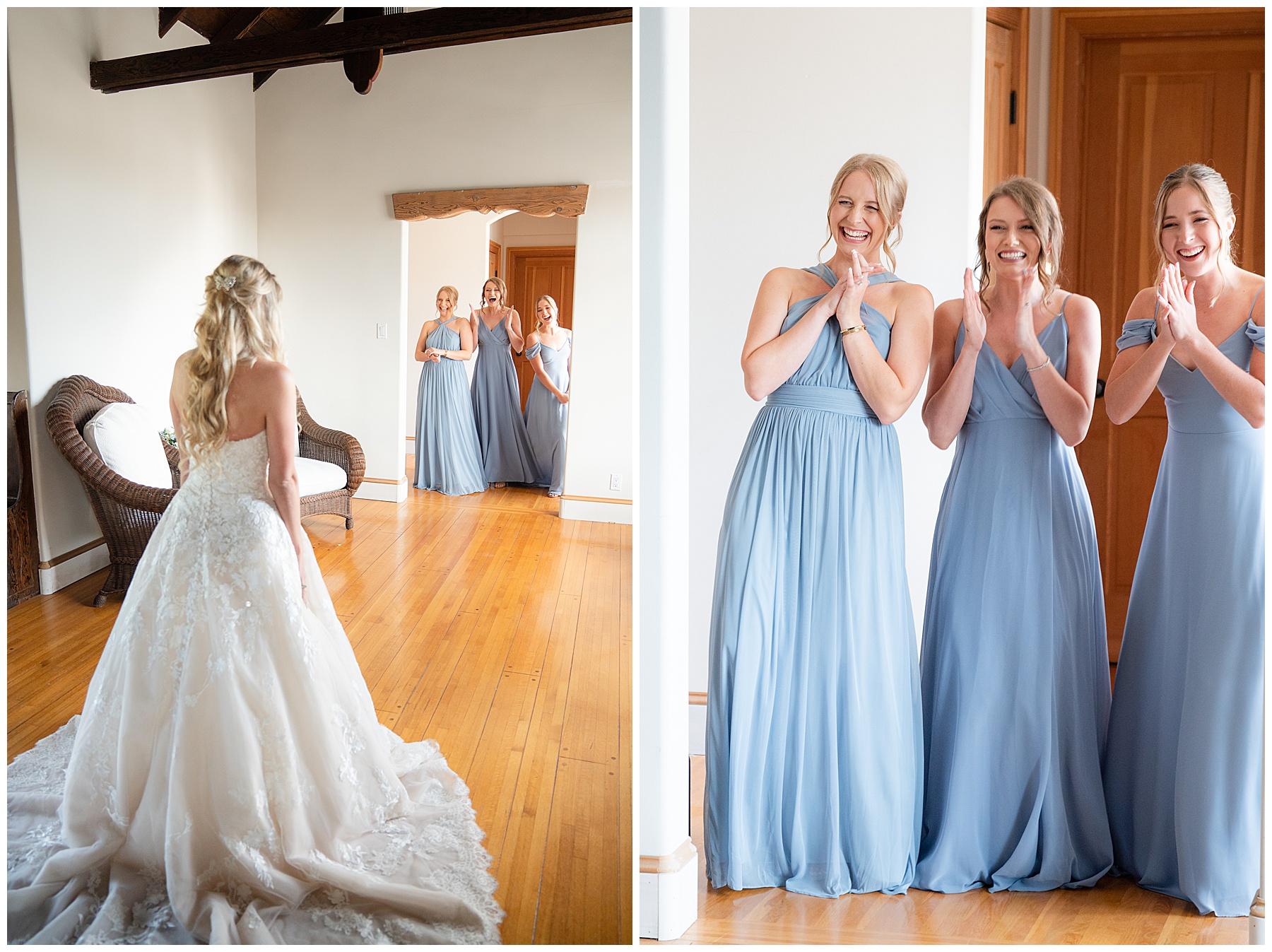 first look between bride and bridesmaids