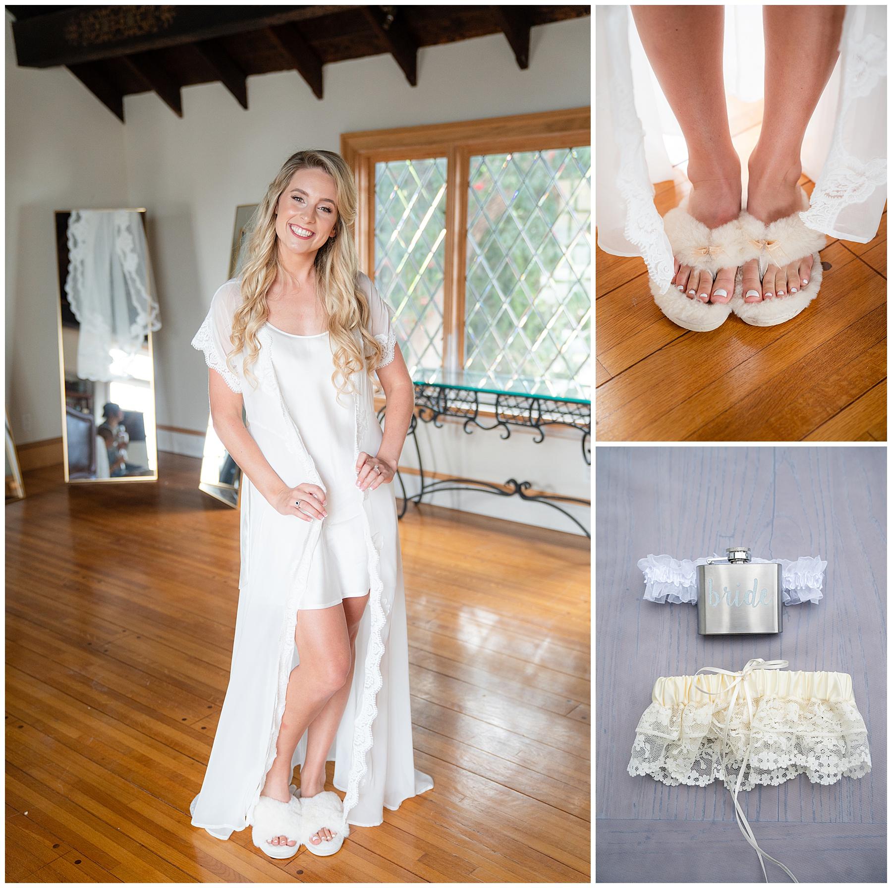 bride slippers and garter belt