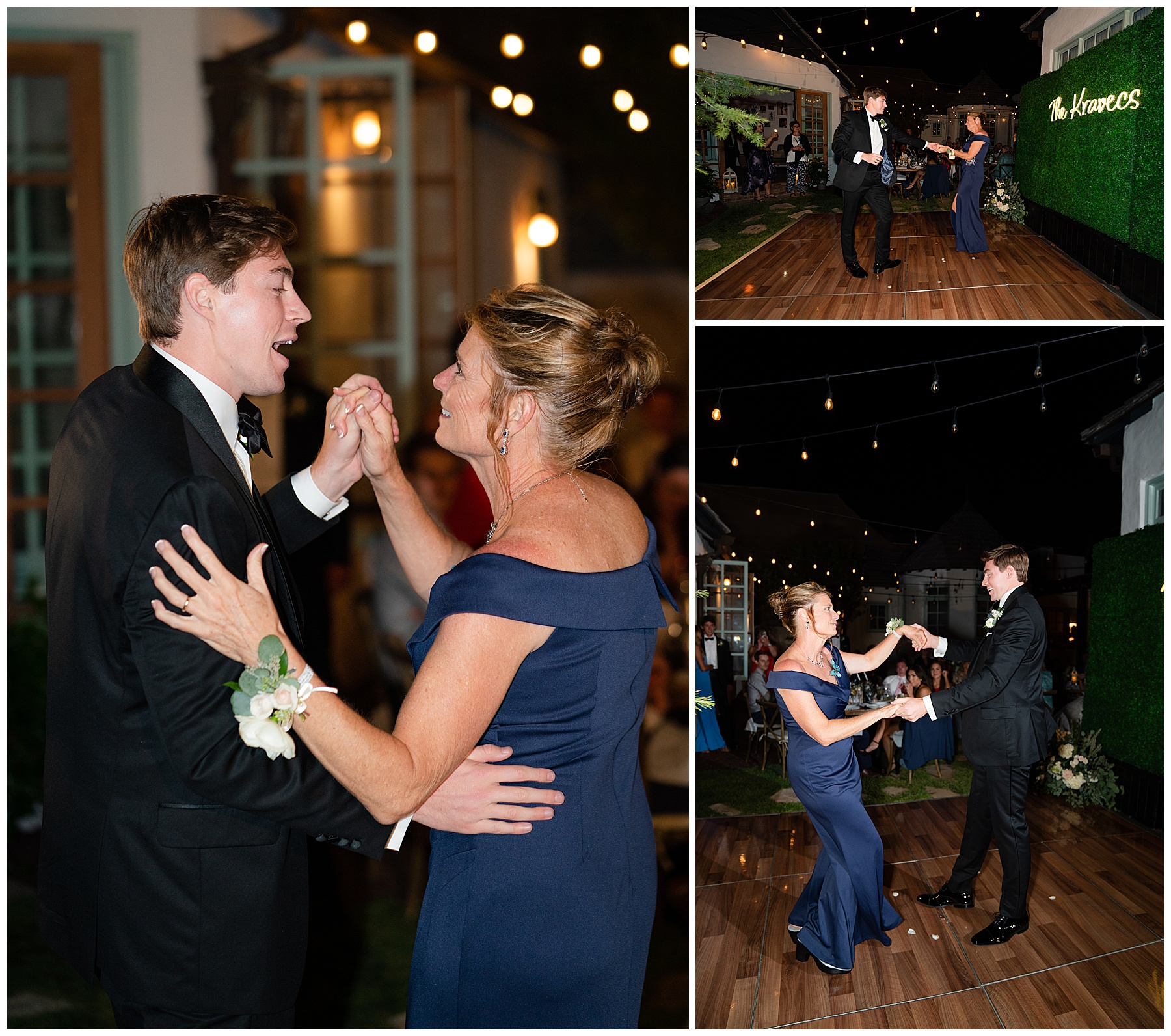 backyard wedding son and mom dance