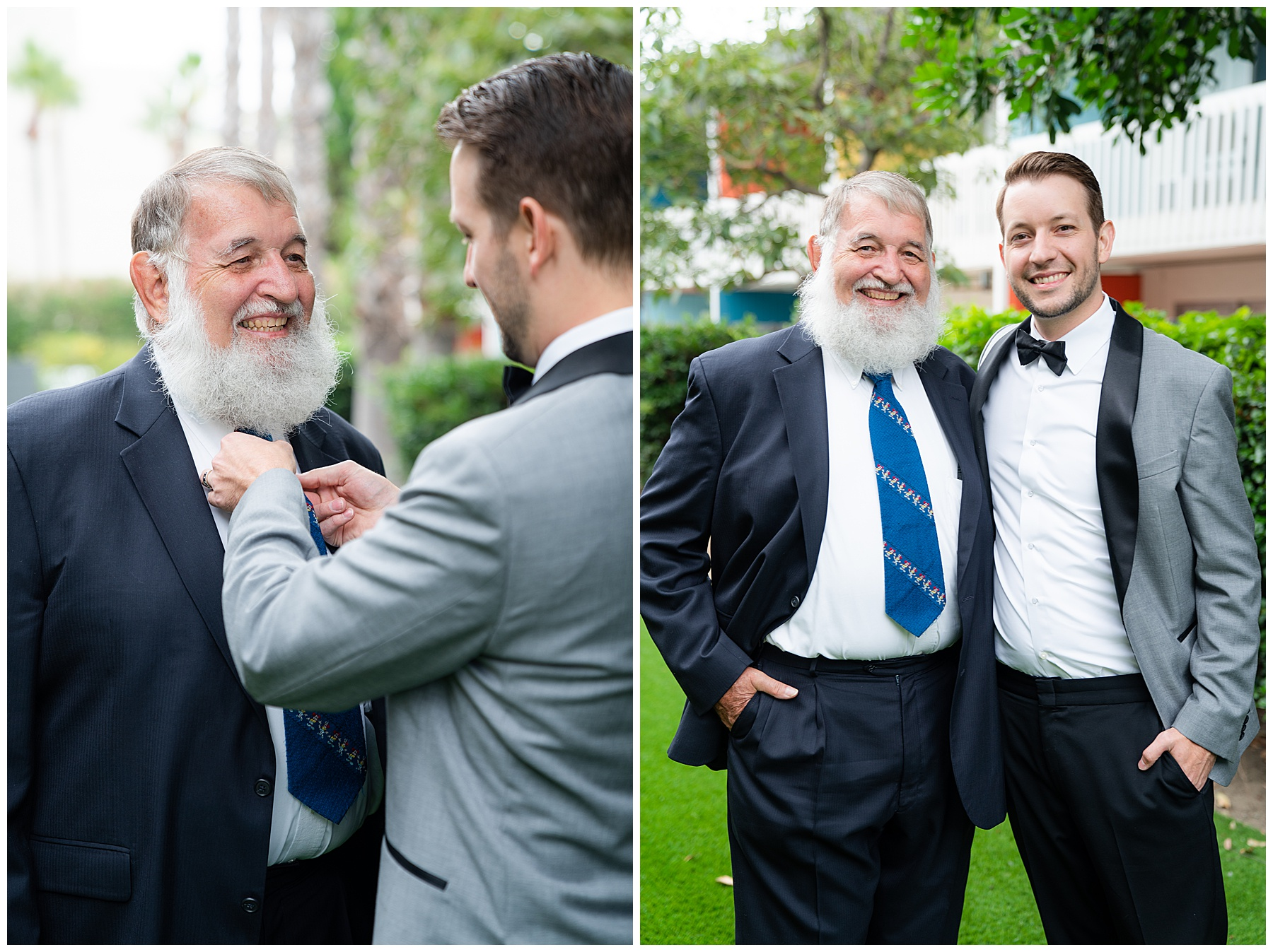 father and son prepare for wedding