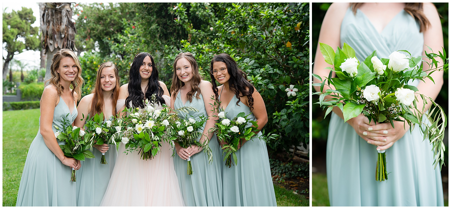 sky blue bridesmaids dresses and white and green bouquet