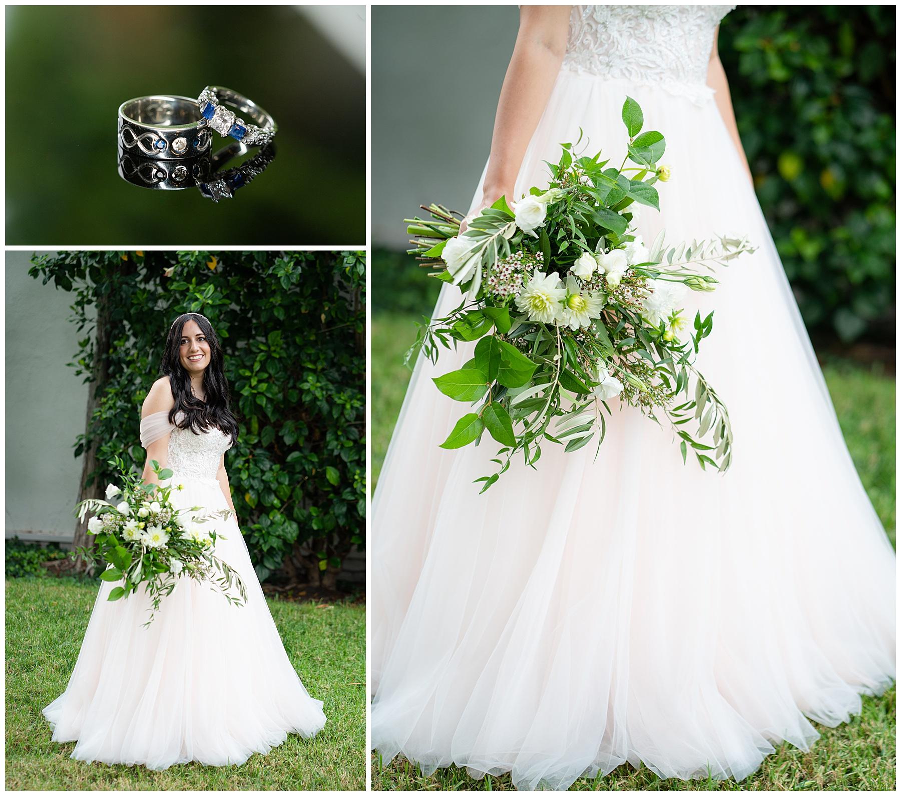 blue diamond ring and wedding dress