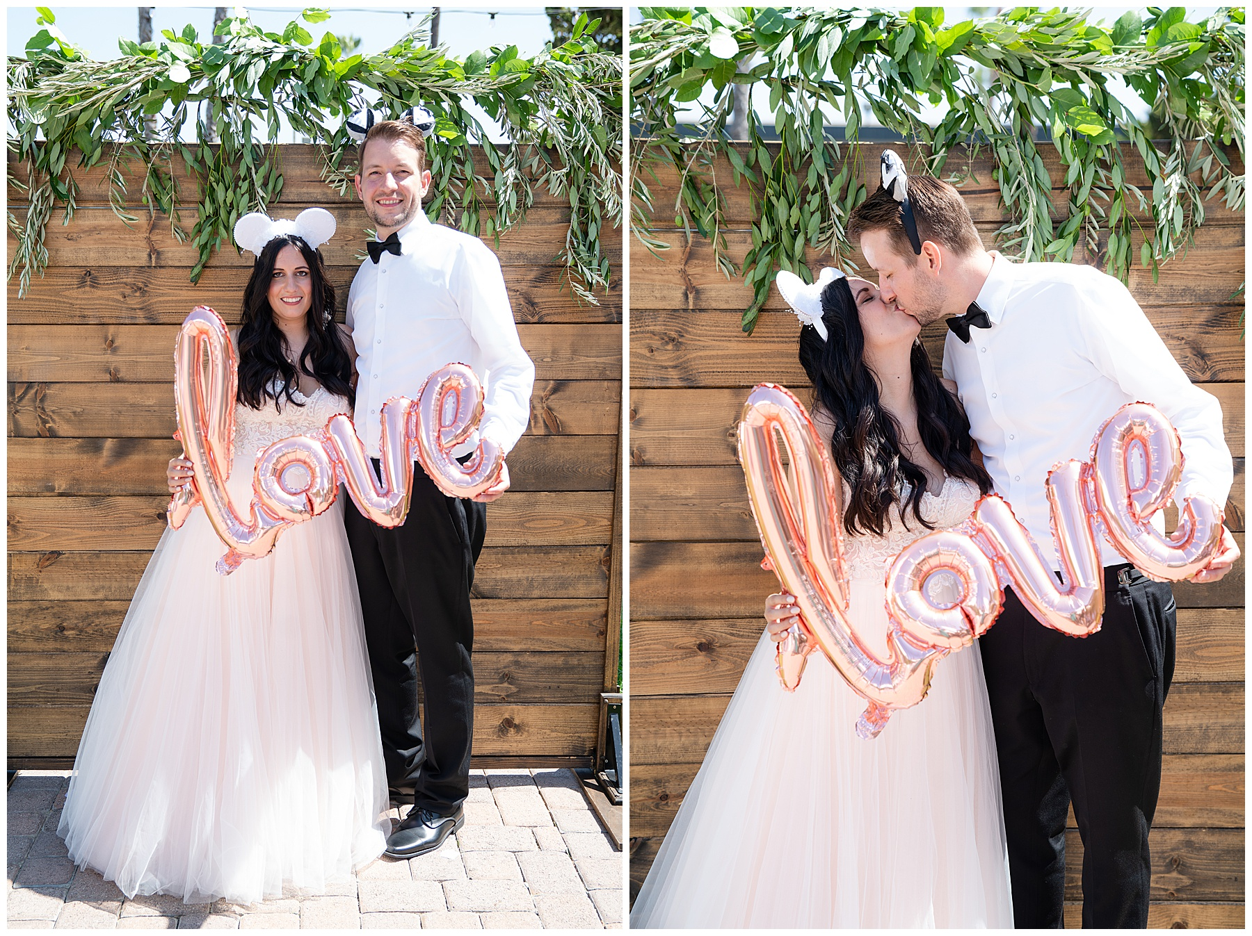 wedding couple with love sign