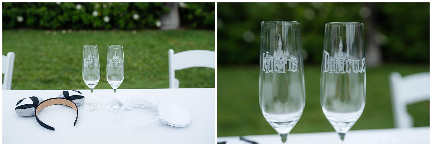 engraved disney champagne glasses