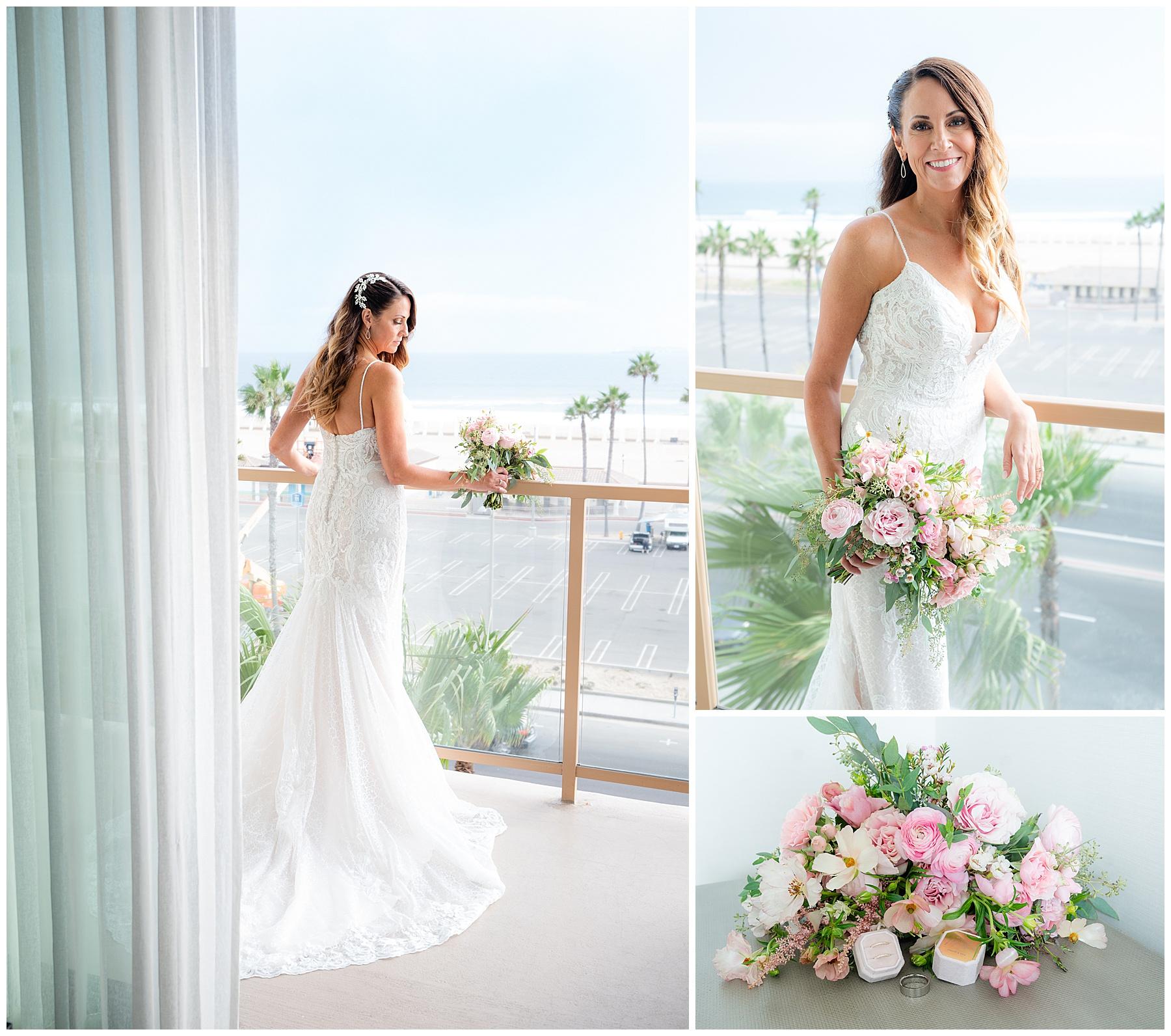 huntington beach wedding balcony portrait