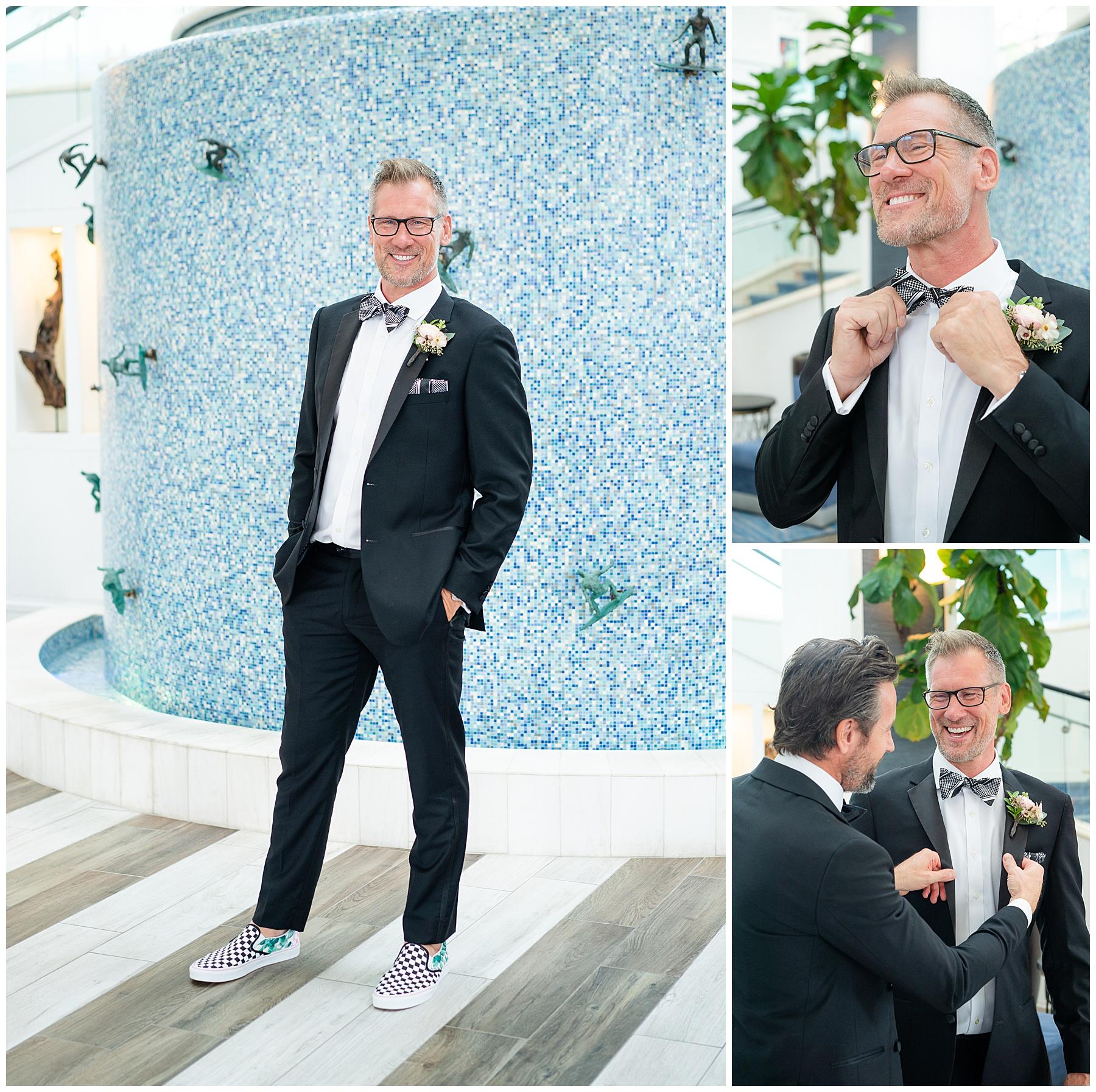 wedding groomsmen surf wall