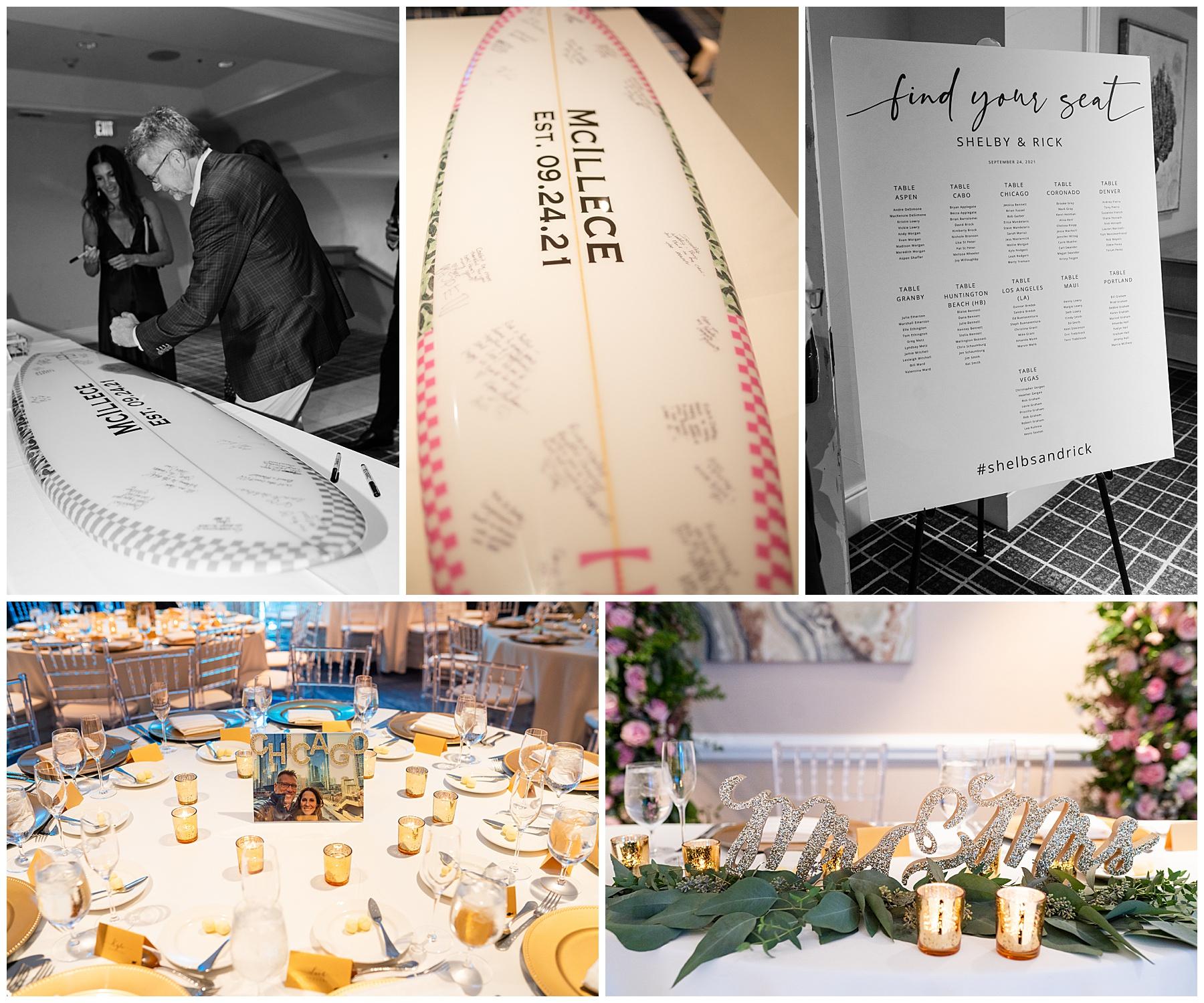 surfboard wedding guest sign