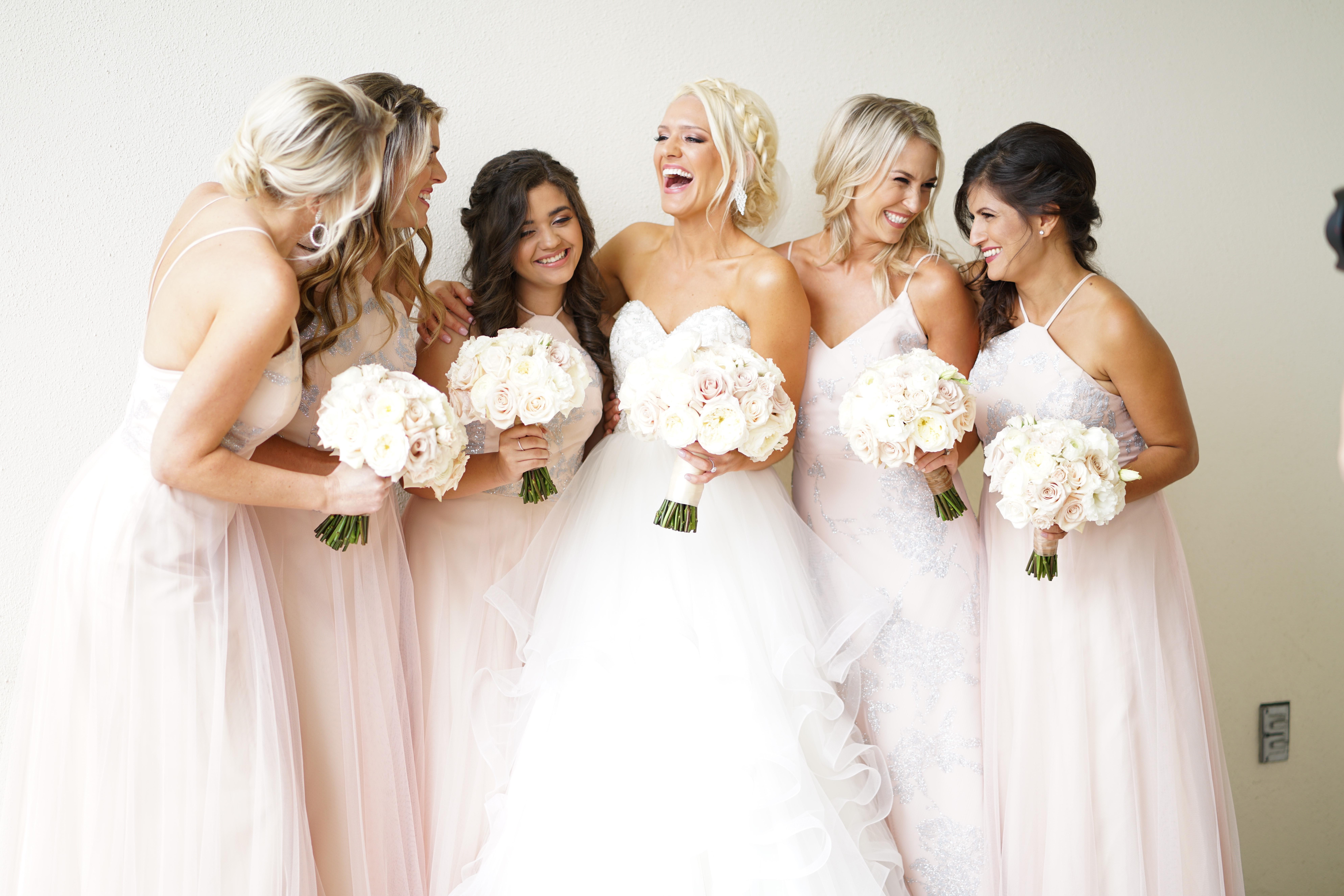 pink bride's maids dresses