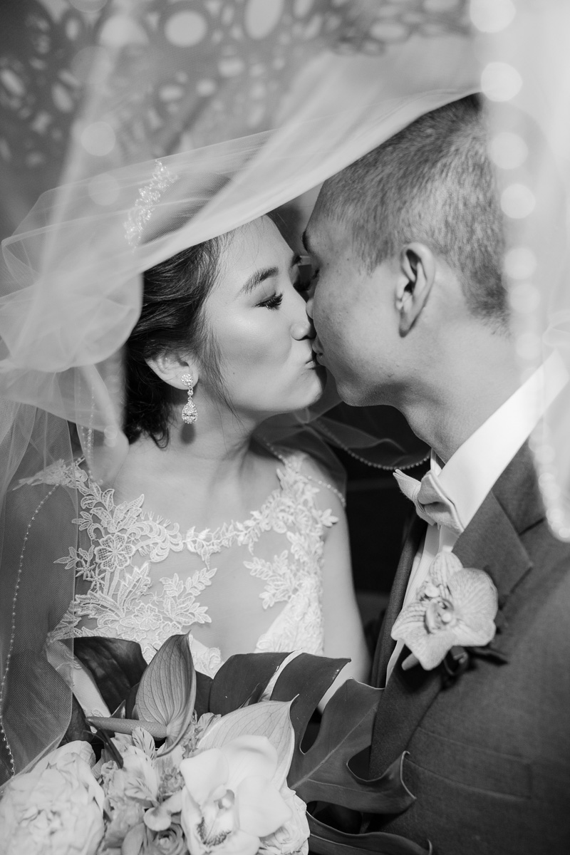 black and white wedding portrait kissing under bride's veil