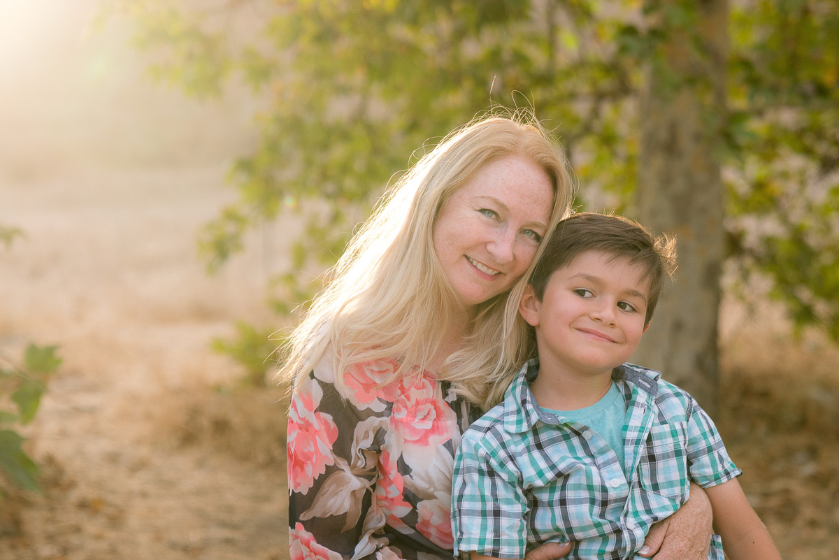 mom and son at sunset