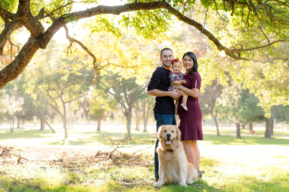 new family with their dog