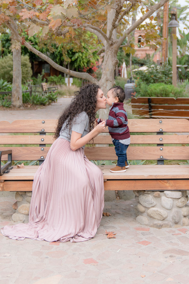 mom with son on bench