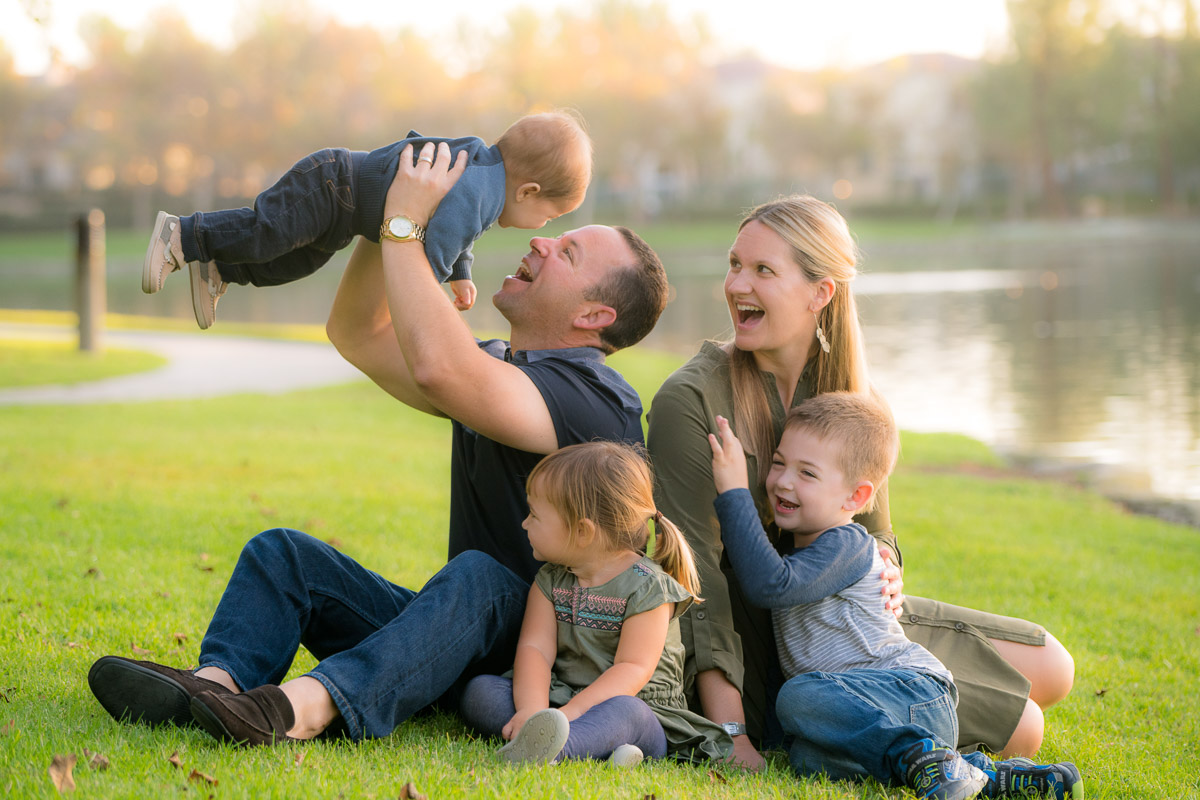 family of five at the park
