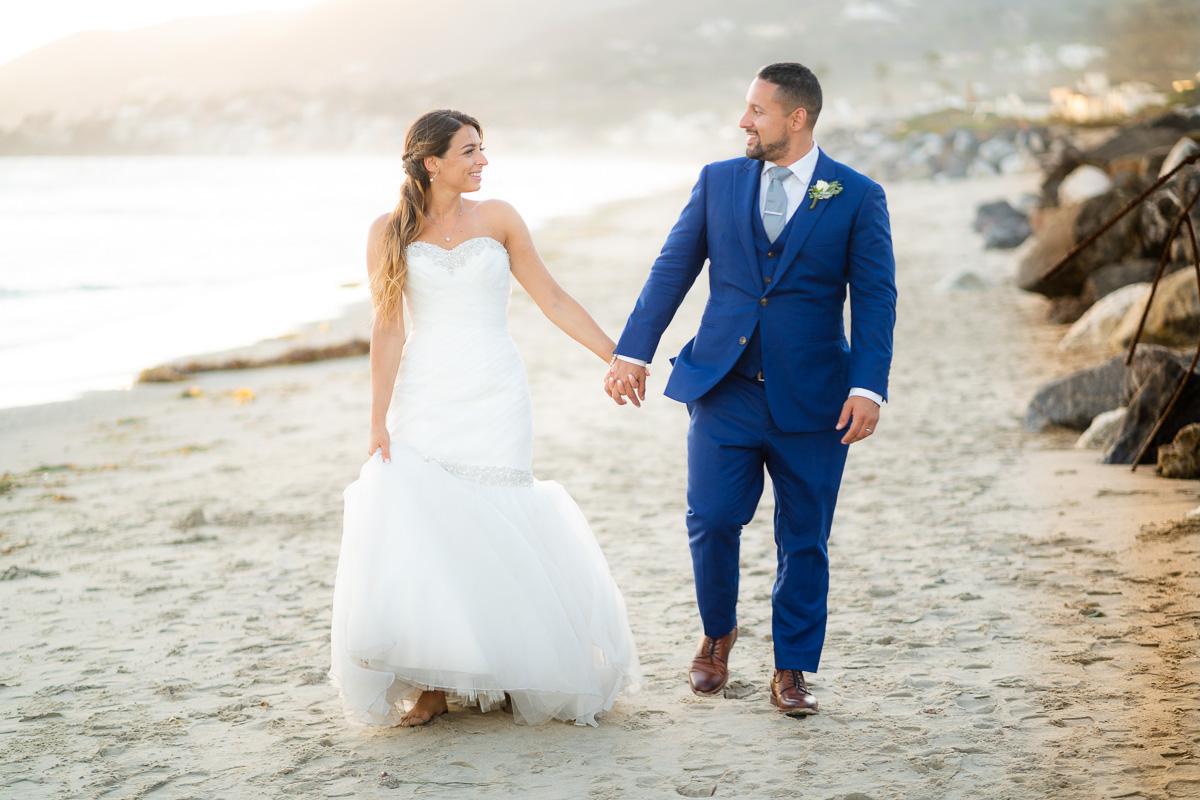 malibu west beach club wedding portrait