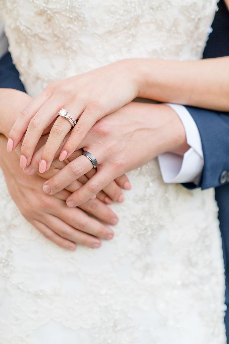 wedding ring photo bride and groom