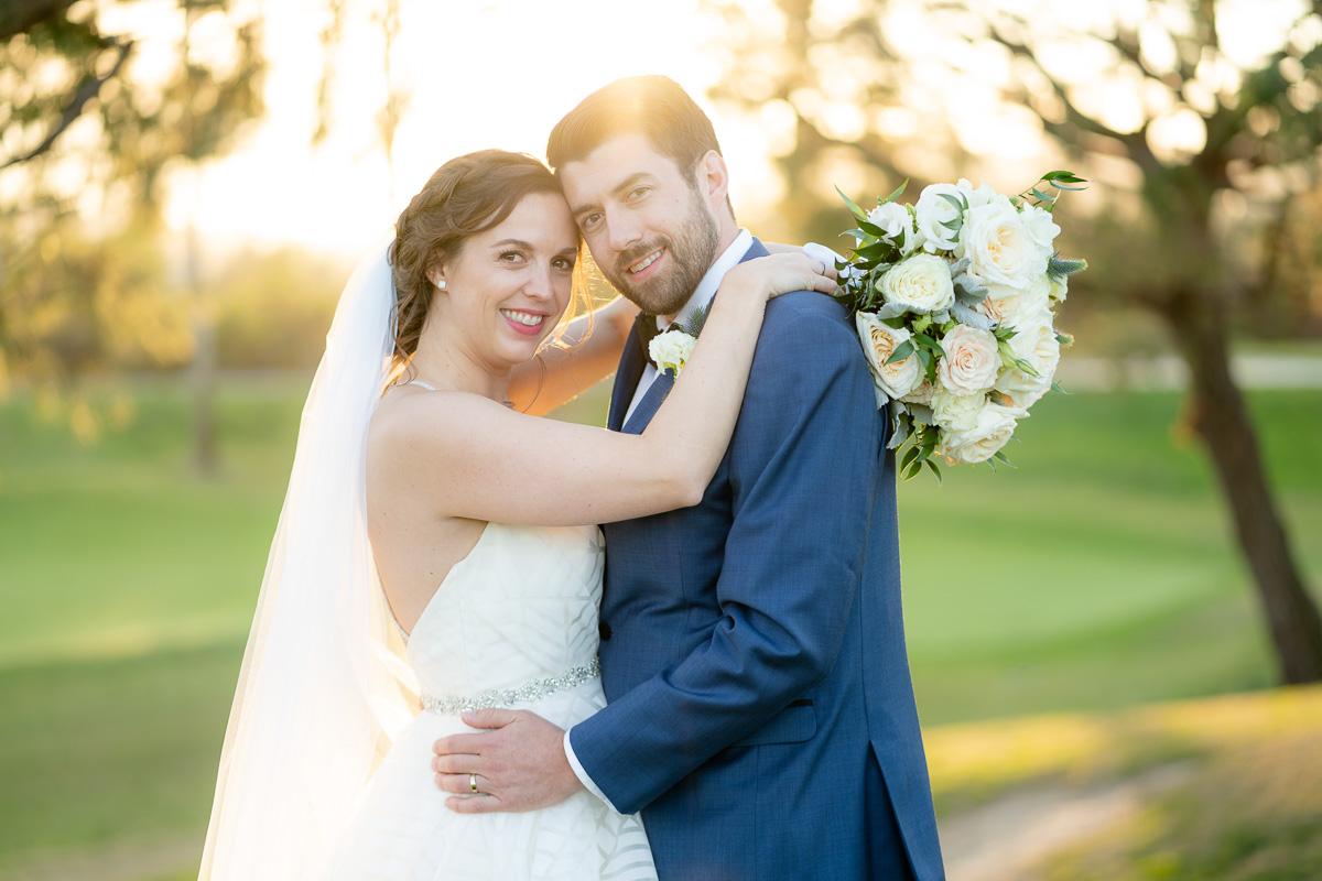talega golf club sunset wedding portrait