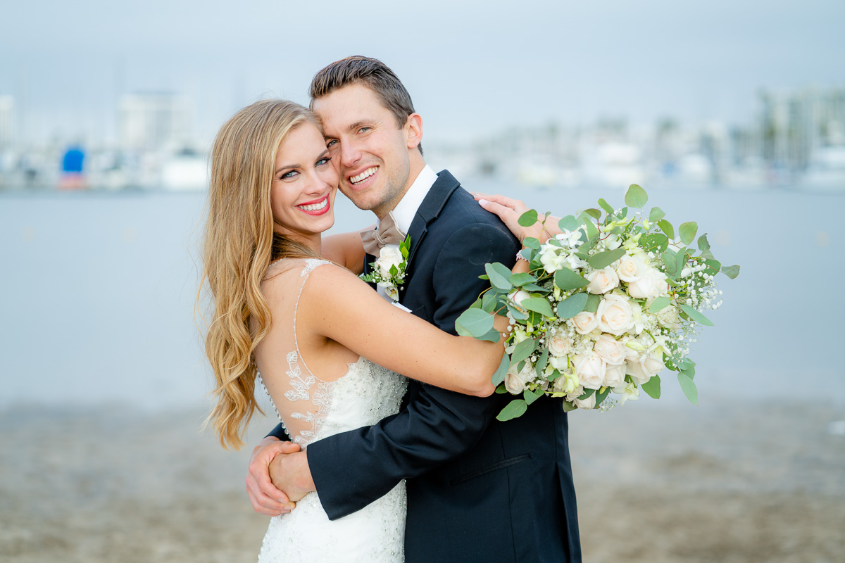 marina del rey beach wedding photo