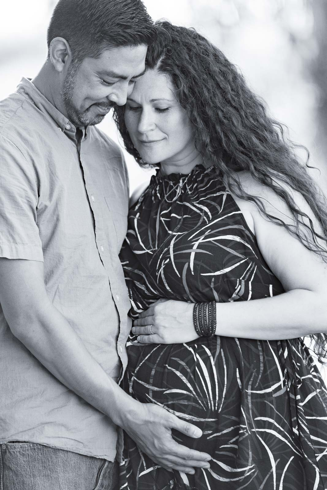black and white maternity pose