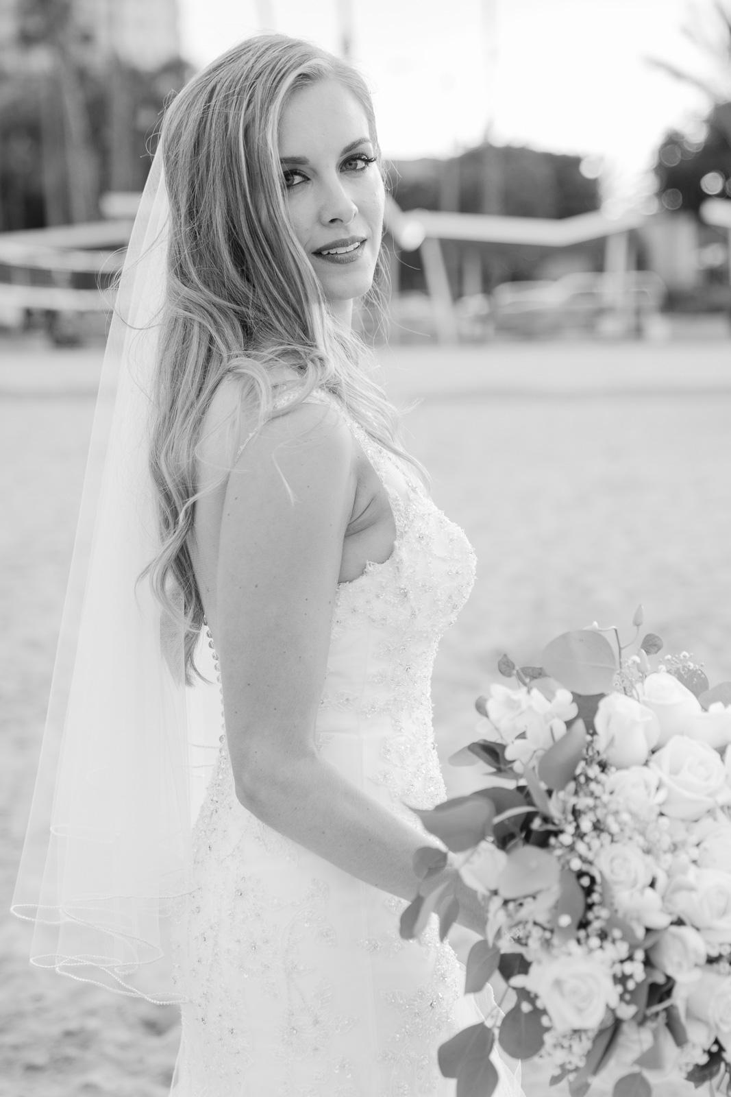 bridal portrait black and white on beach