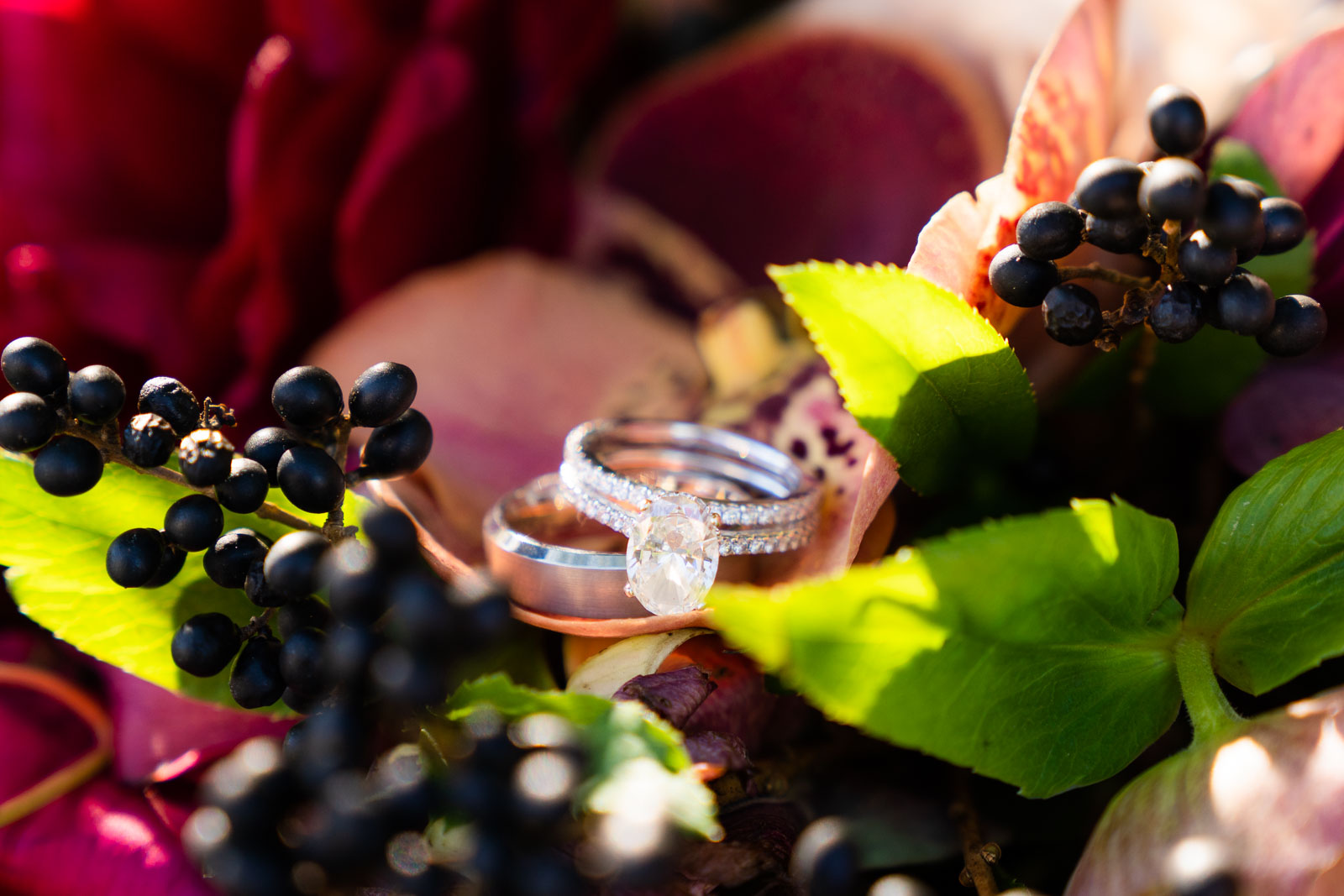 wedding ring in fall flowers