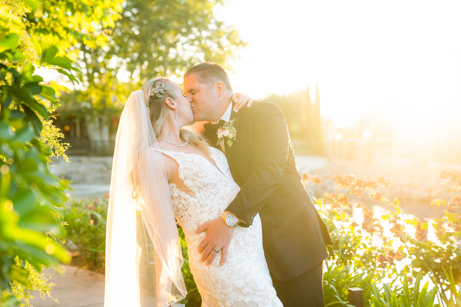 couple under veil black and white