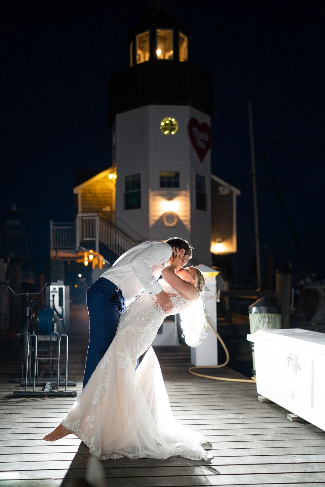 light house wedding portrait