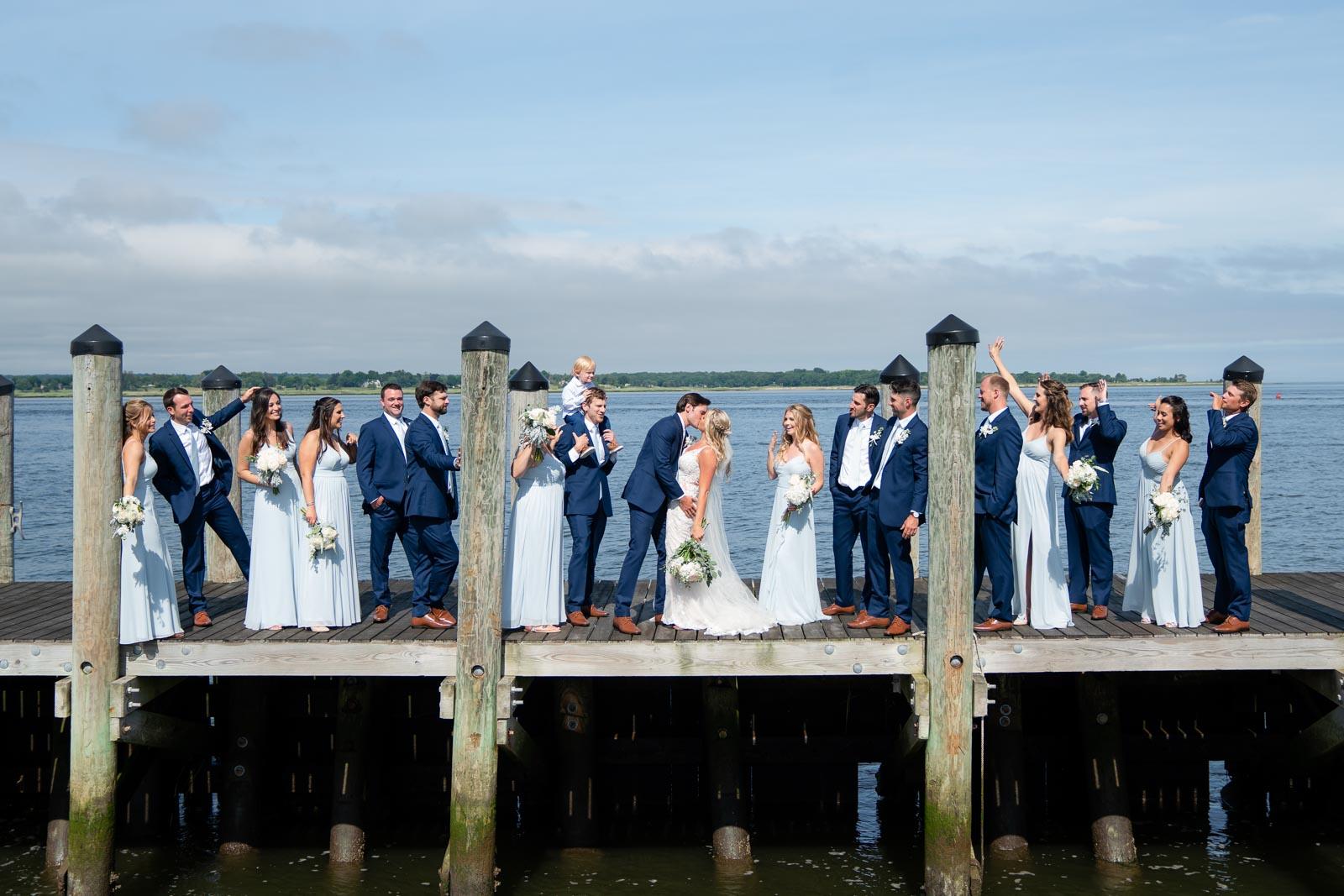 fun wedding part pose