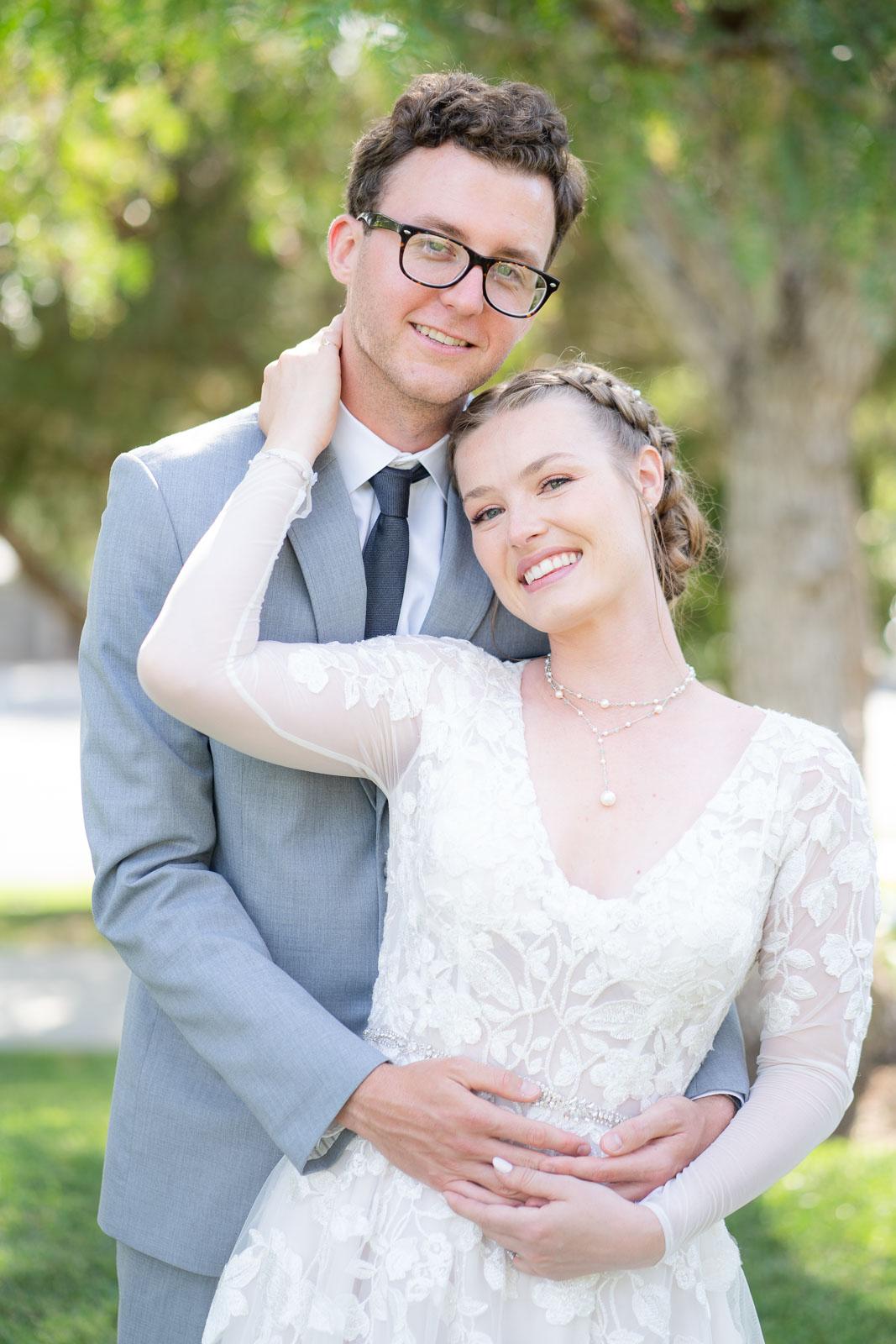 bride and groom cute pose