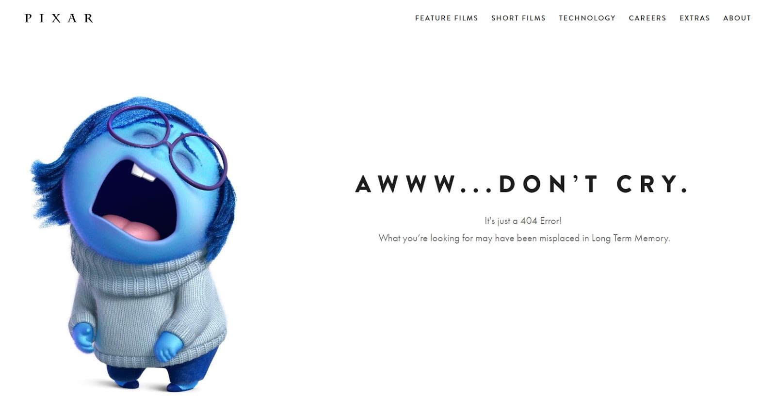 Chybová stránka 404 Pixar