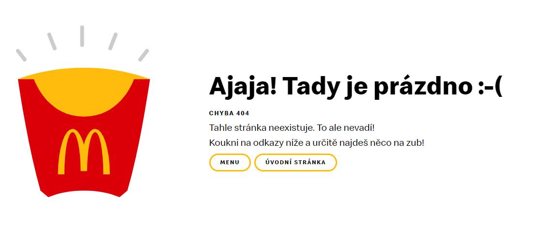 Chybová stránka 404 českého webu Mc Donald's