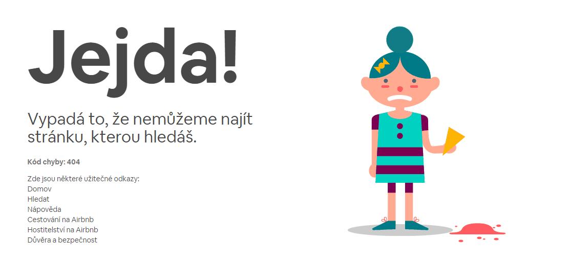 Stránka 404 pro českou verzi stránky Airbnb