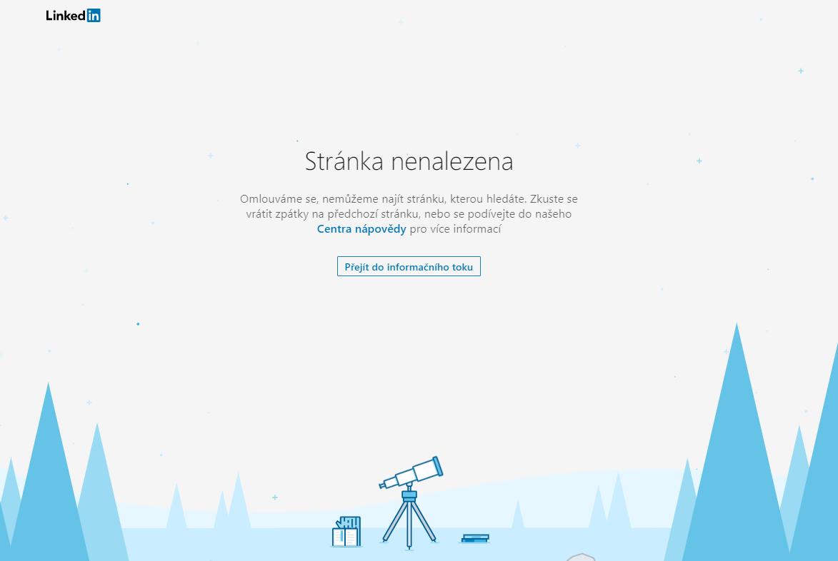 LinkedIn chybová stránka 404