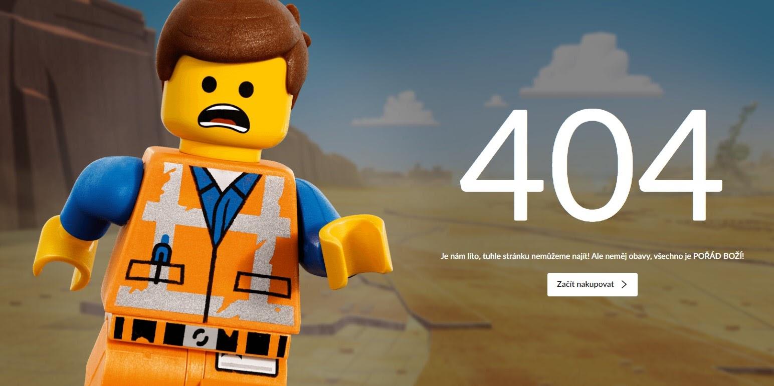 Vtipná stránka 404 s LEGO panáčkem