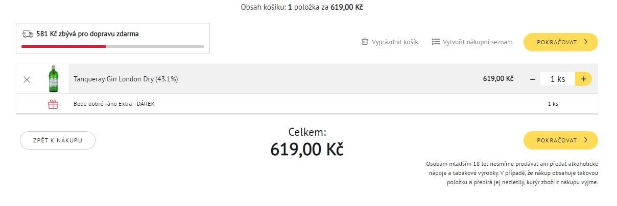 Vnitřek košíku prodejce online potravin Košík.cz