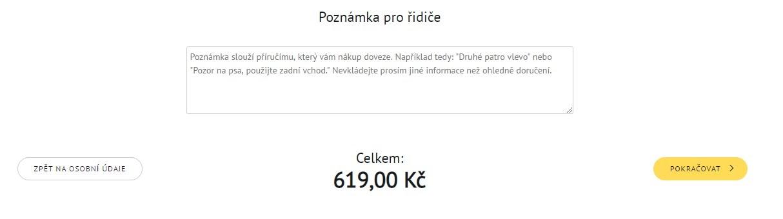 Shrnutí objednávky v košíku prodejce online potravin Košík.cz