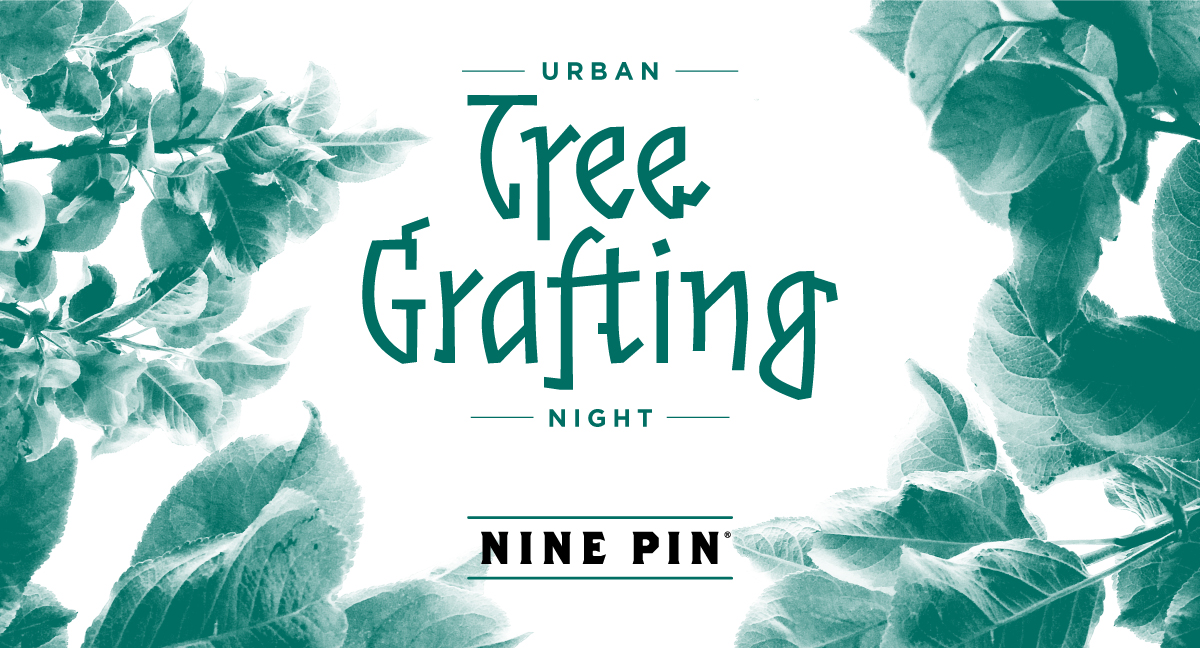 Turquoise image a apple leaves with text that reads Urban Tree Grafting Night Nine Pin.
