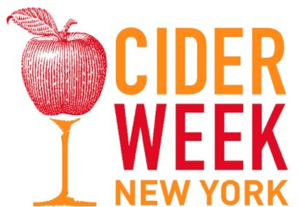 Image of an apple in a wine glass and text reads Cider Week New York.