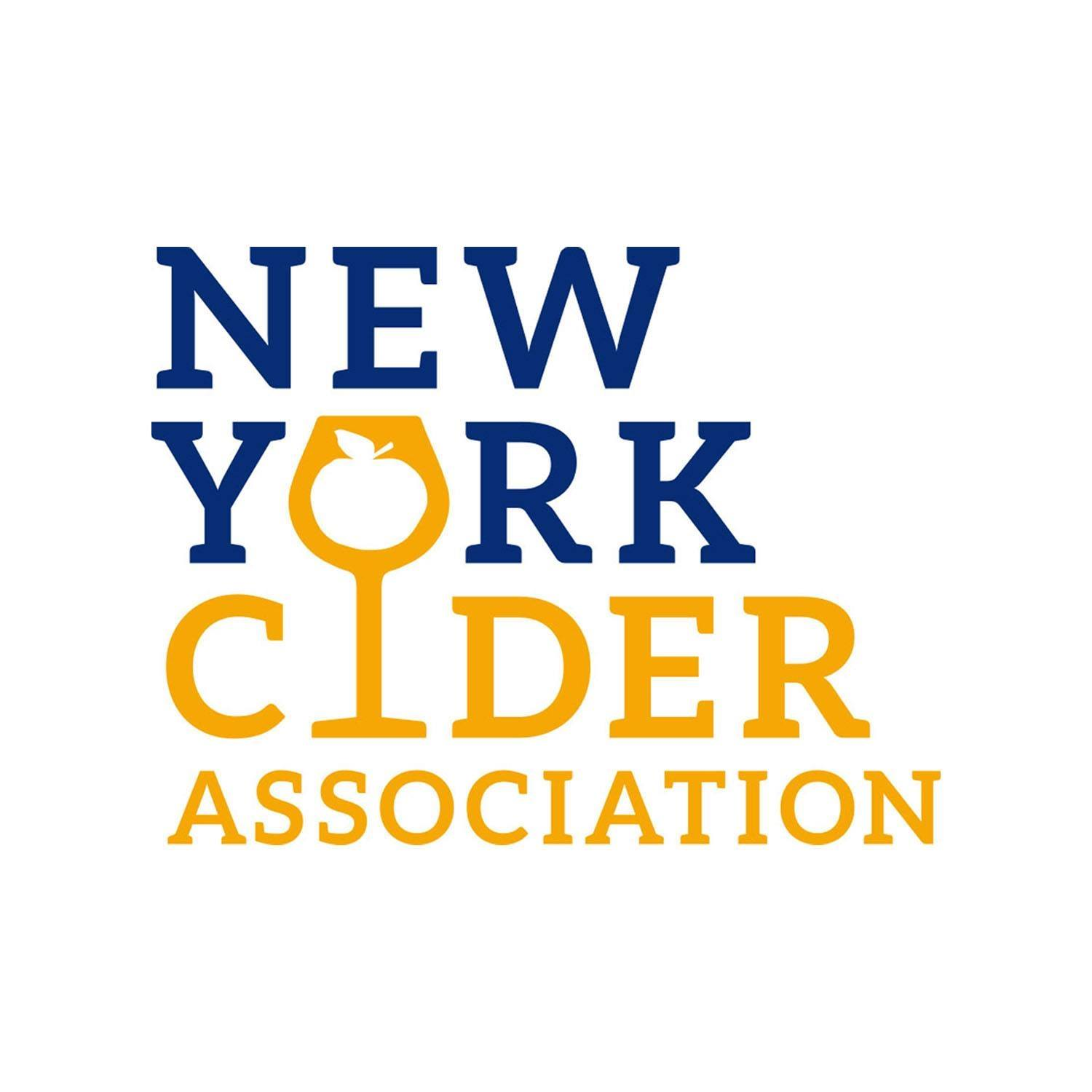 Blue and Yellow text that reads New York Cider Association. The I in cider is a wine glass with an apple in it.