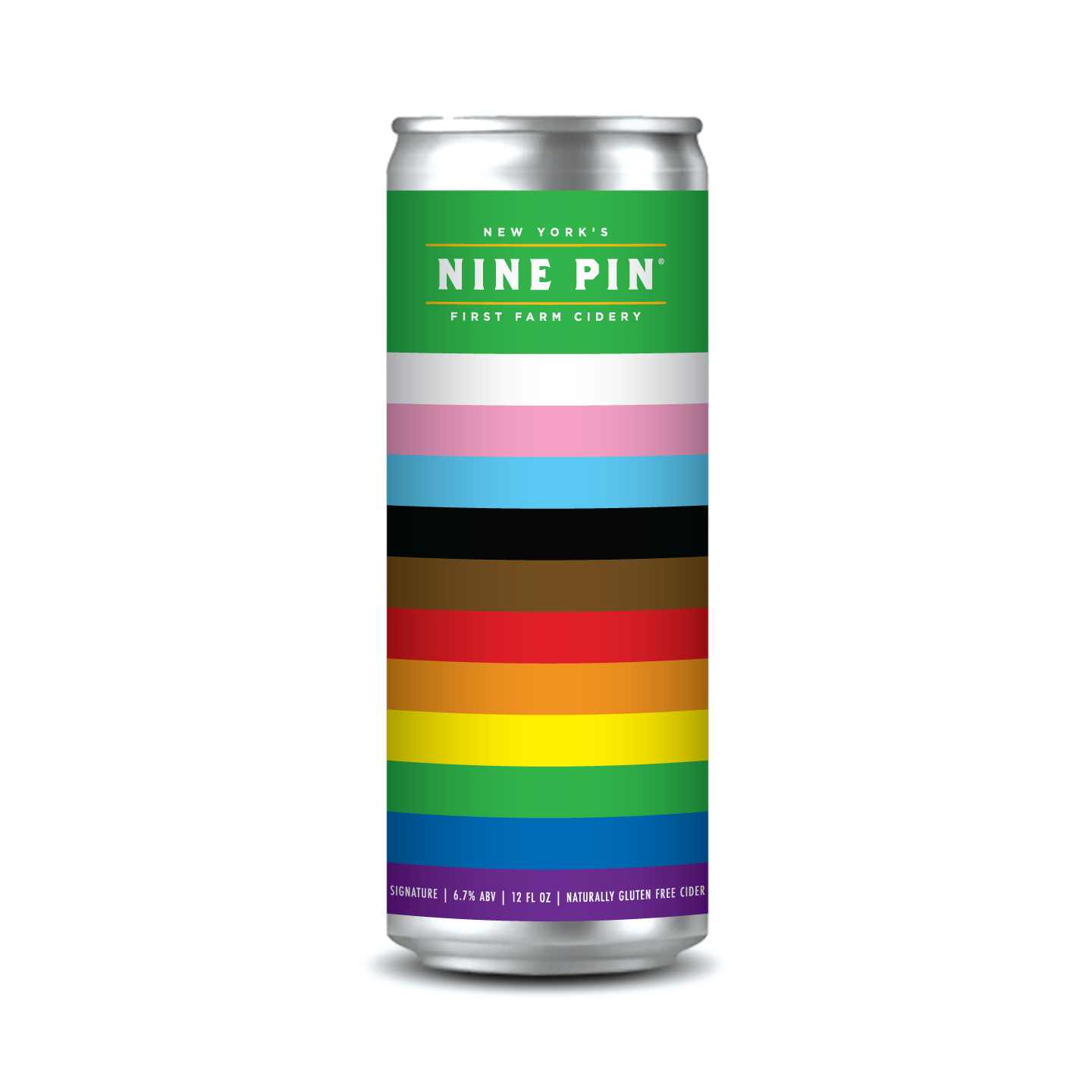 Rainbow color pride can with Nine Pin Cider on top