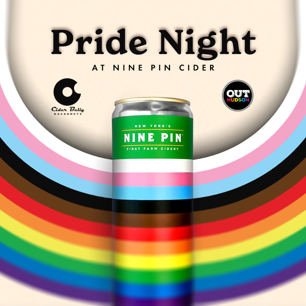 Image reads Pride Night at Nine Pin Cider. Image of upside down rainbow. Inside rainbow is a rainbow colored can that reads Nine Pin