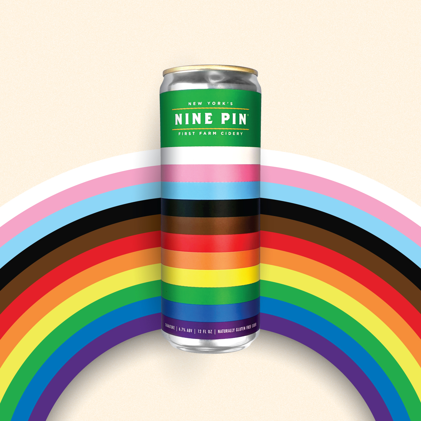 Image of rainbow. Inside rainbow is a rainbow colored can that reads Nine Pin