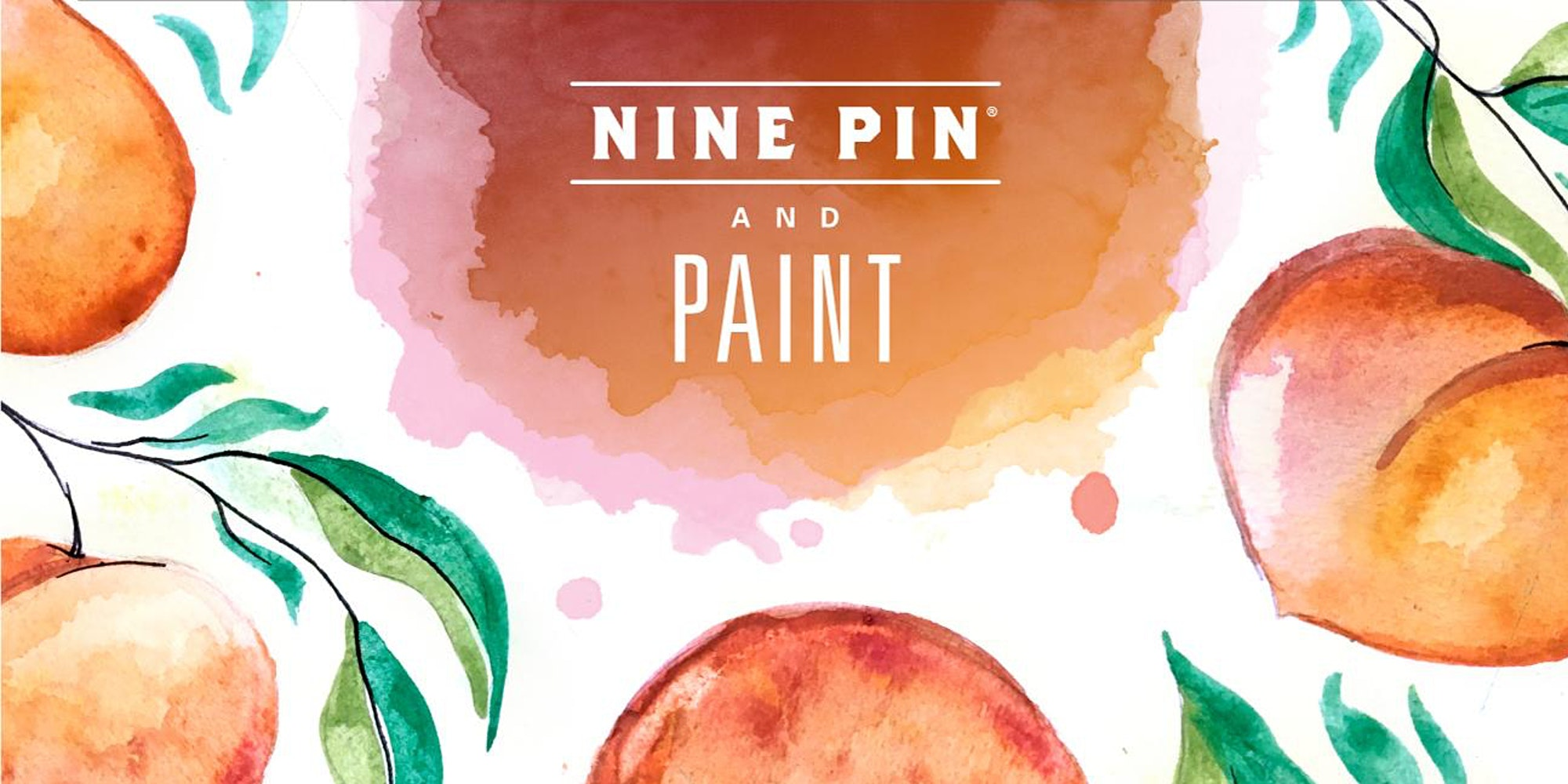 Red/orange watercolor apples. Text reads Nine Pin and Paint