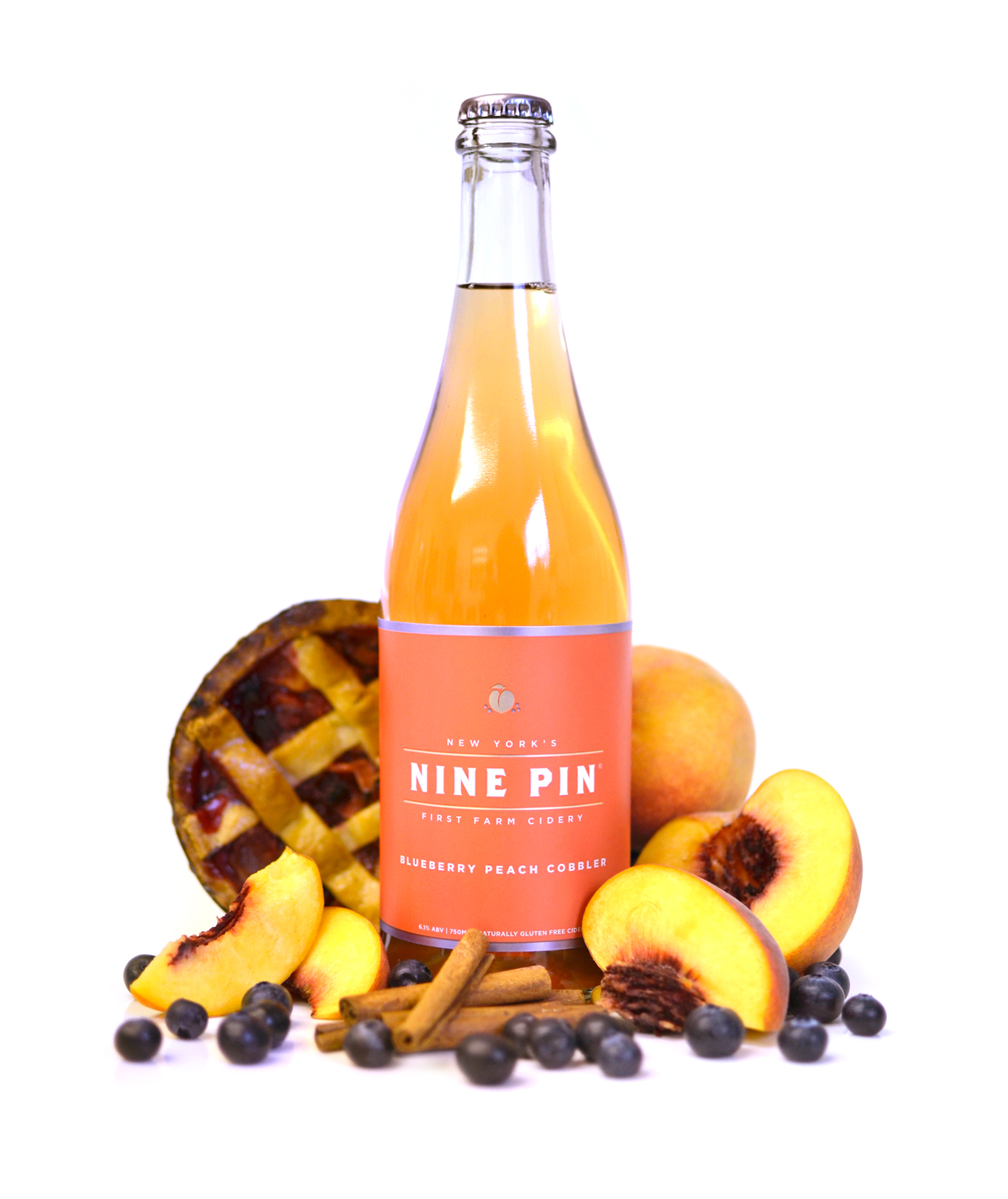 A cider co-fermented with local blueberries and peaches aged with a touch of cinnamon. This cider is rich and comforting, reminiscent of a fresh slice of blueberry peach cobbler.