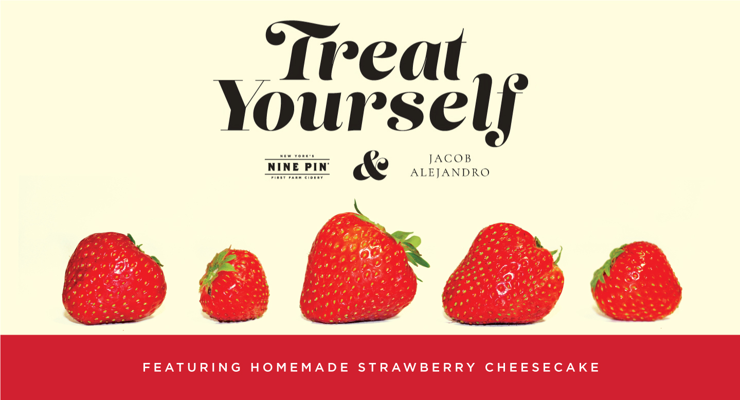 A beige image with 3 strawberries. Text reads treat yourself homemade strawberry cheesecake.